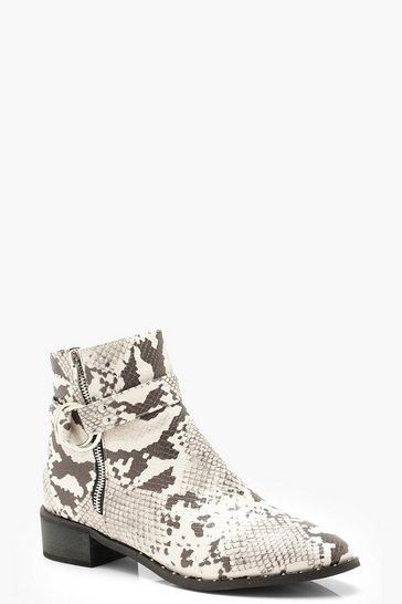 Womens Grey Snake Zip Side Chelsea Boots