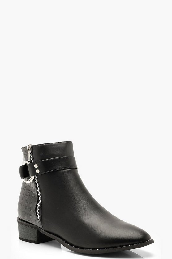 Black Croc Panel Zip Side Chelsea Boots