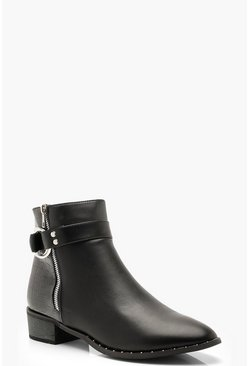 Womens Black Croc Panel Zip Side Chelsea Boots