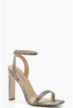 Grey Wide Fit Snake Two Part Heels