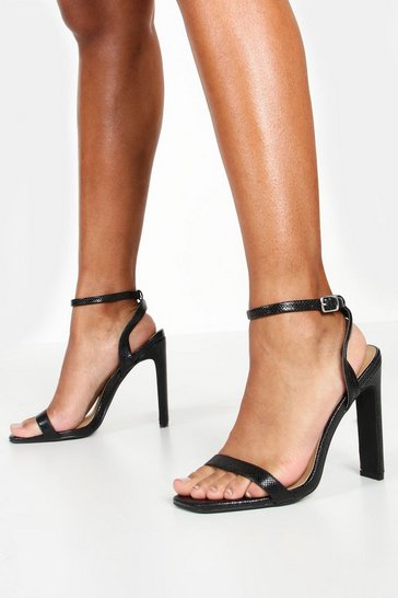 Womens Black Wide Fit Lizard Two Part Heels