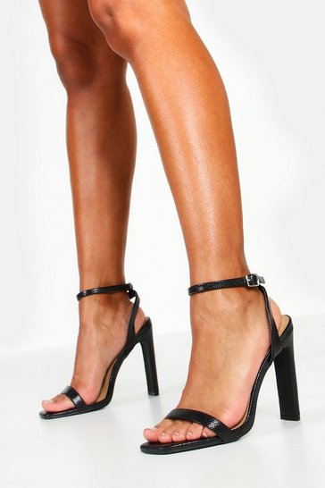 Womens Black Lizard Two Part Heels