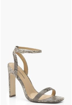 Womens Grey Snake Two Part Heels