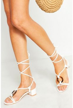 Womens White Low Block Tortoise Ring Heel Sandals