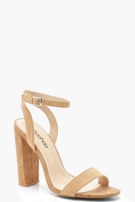 Womens Tan Cork Block Heel 2 Parts