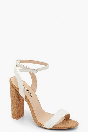 Womens White Cork Block Heel 2 Parts
