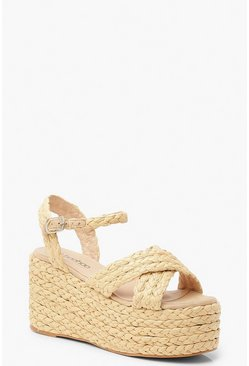 Womens Natural Espadrille Strap Flatform Wedges