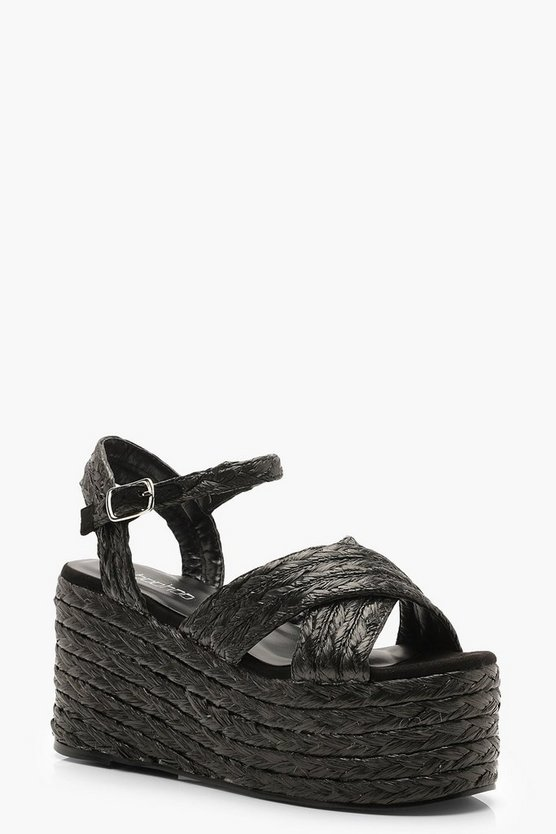 Womens Black Espadrille Strap Flatform Wedges