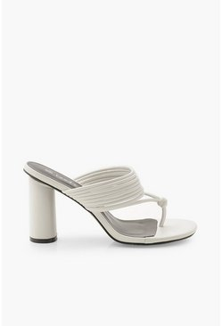Womens White Toe Ring Multi Strap Block Heel Mules