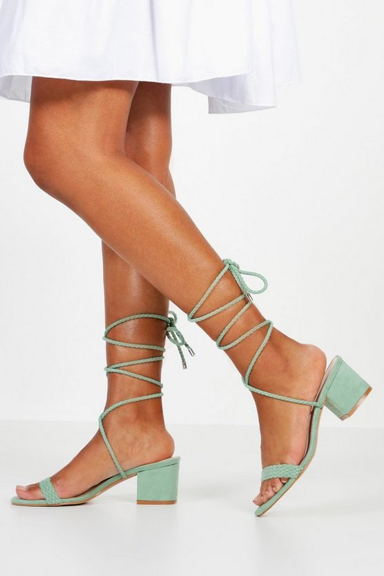 Sage Block Heel Plait Strap Sandals