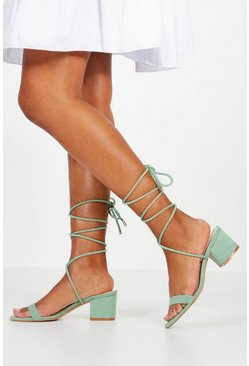 Womens Sage Block Heel Plait Strap Sandals