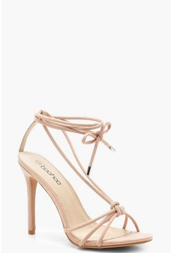Womens Pink Knot Front Slingback Heels