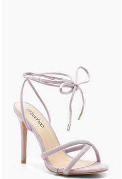 Womens Lilac Wrap Strap Tubular Heel Sandals