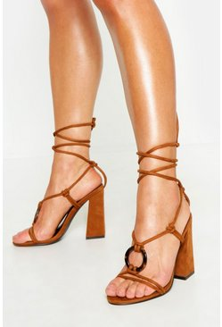 Womens Tan Tortoise Ring Detail Wrap Block Heels