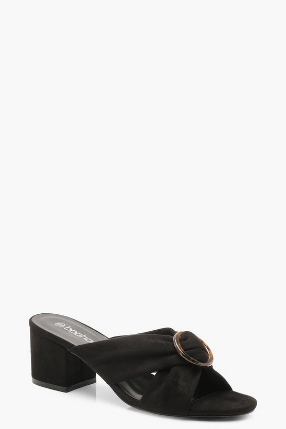 Womens Black Tortoise Ring Detail Block Heel Mules