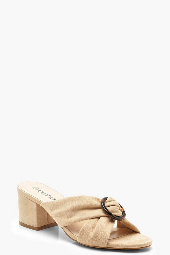 Womens Beige Tortoise Ring Detail Block Heel Mules