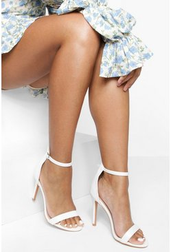 Womens White Basic 2 Part Heels