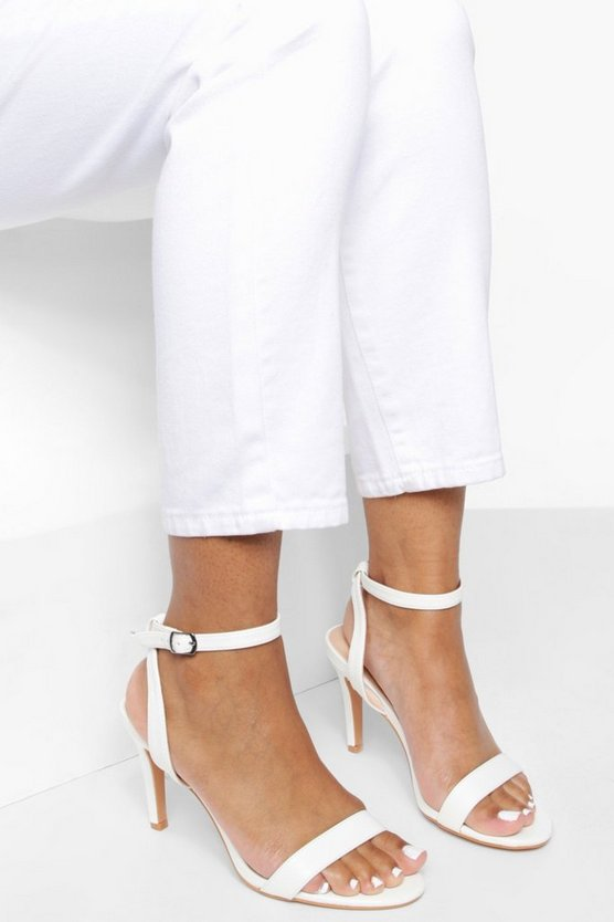 Womens White Low Heel Basic 2 Parts
