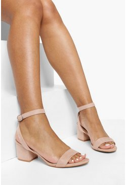 Womens Blush Low Block Heel 2 Parts