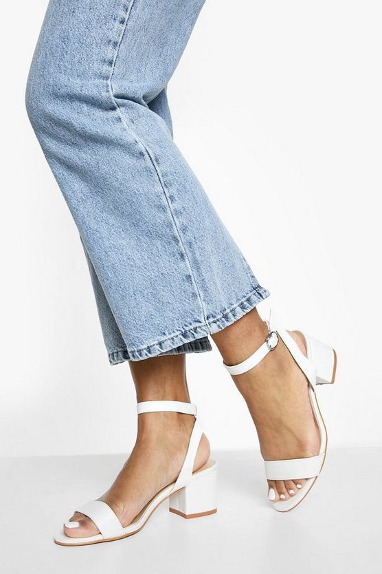 Womens White Low Block Heel 2 Parts