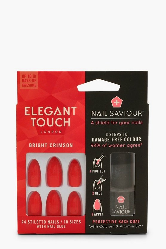 Womens Red Elegant Touch Bright Crimson False Nails & Glue