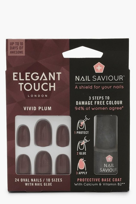 Womens Plum Elegant Touch Vivid Plum False Nails With Glue