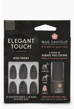 Womens Black Elegant Touch Rich Ebony False Nails & Glue