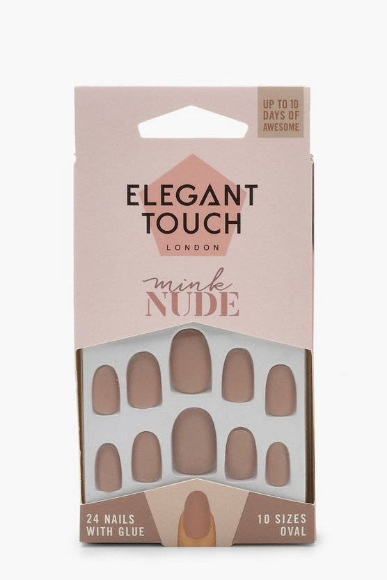 Womens Nude Elegant Touch Mink Nude False Nails With Glue