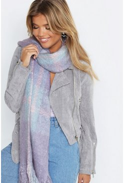 Womens Baby blue Oversized Brushed Check Scarf