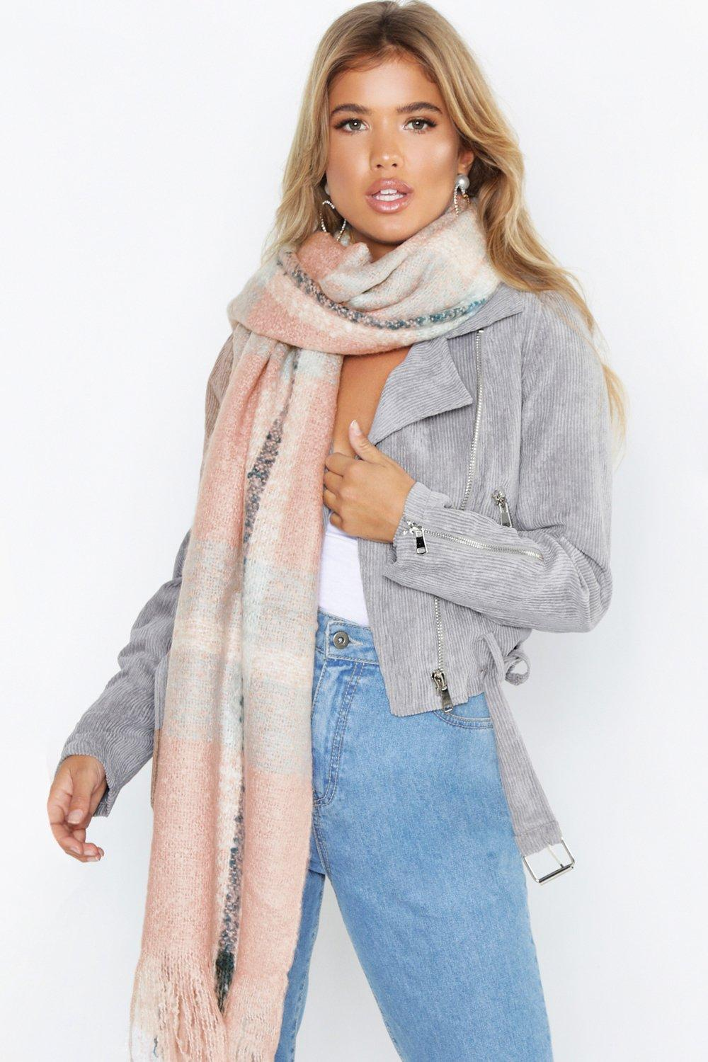 Oversized Brushed Check Scarf