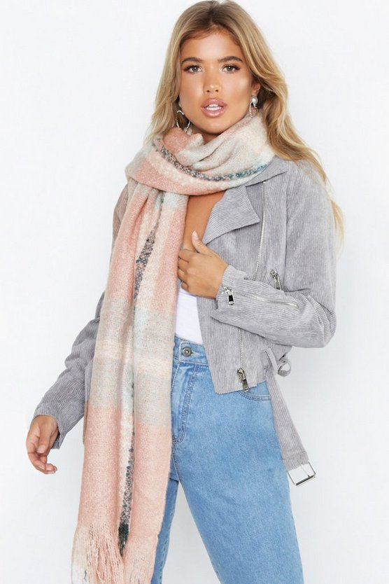 Womens Pink Oversized Brushed Check Scarf