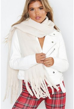 Womens Cream Supersoft Oversized Tassel Scarf