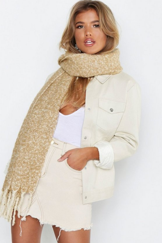 Womens Camel Tassel Oversized Brushed Blanket Scarf
