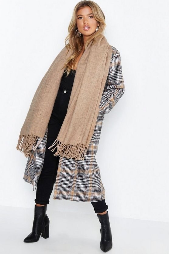 Womens Taupe Oversized Brush Tassel Scarf