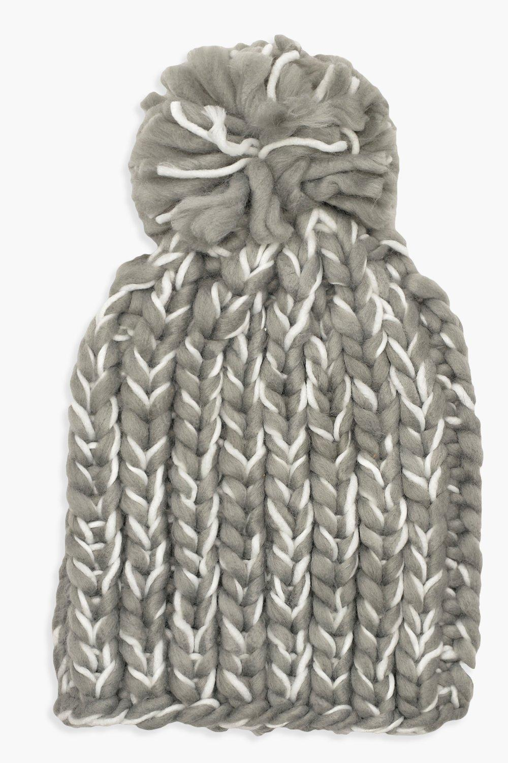 Mixed Knit Bobble Hat