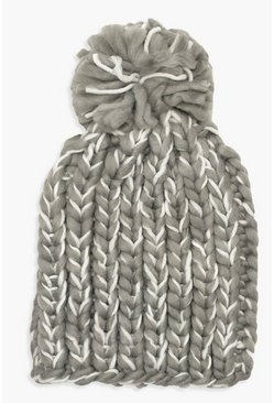 Womens Grey Mixed Knit Bobble Hat
