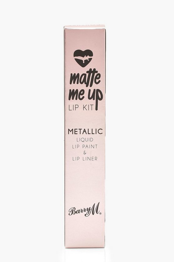 Womens Pink Barry M Metallic Matte Me Up Lip Kit - Couture