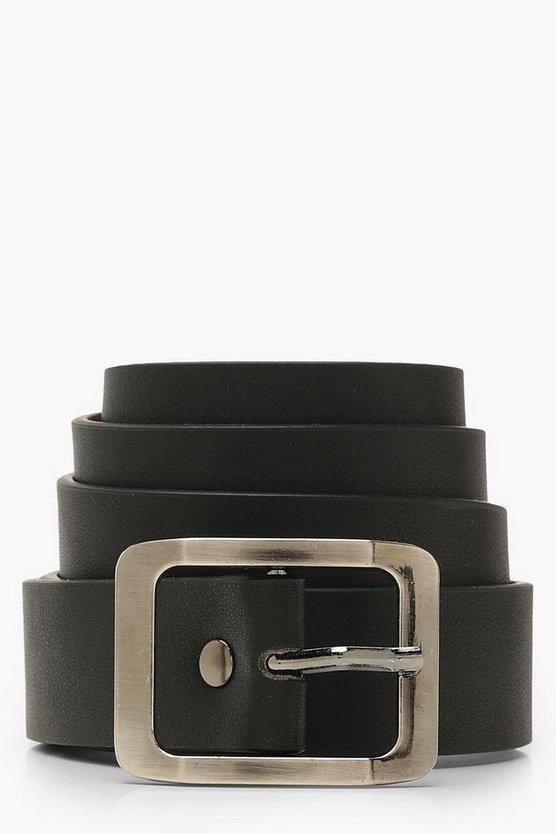 Womens Black Rectangle Boyfriend Belt
