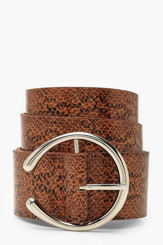 Womens Brown Faux Python Horseshoe Buckle Belt