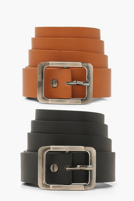 2 Pk Rectangle Buckle Boyfriend Belt