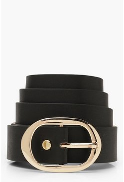 Black Oval Buckle Boyfriend Belt