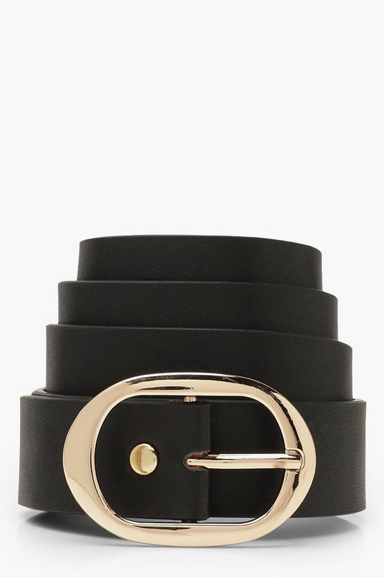 Womens Black Oval Buckle Boyfriend Belt