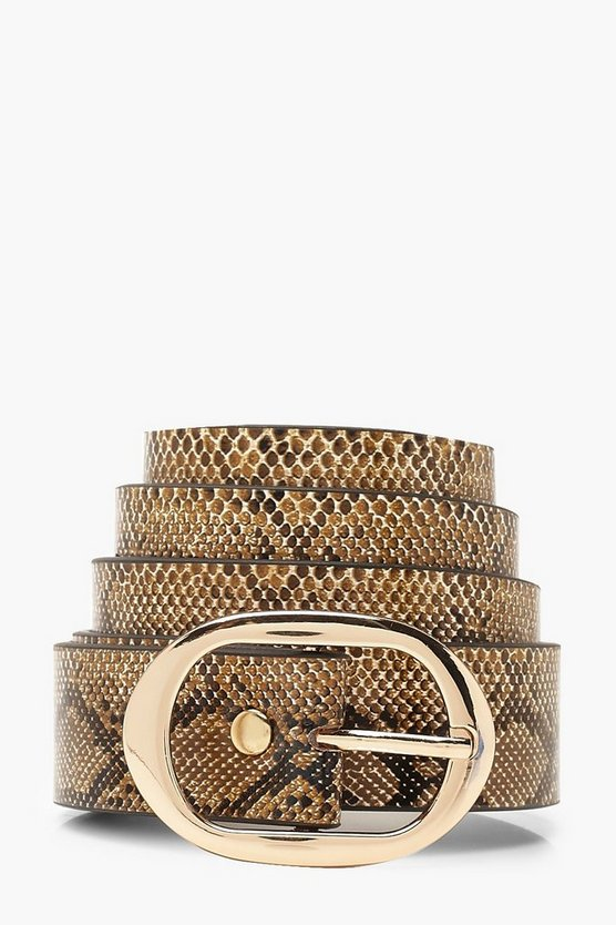 Oval Buckle Faux Snake Belt