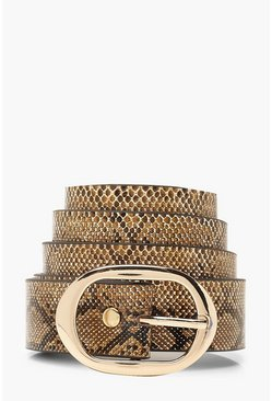 Womens Natural Oval Buckle Faux Snake Belt