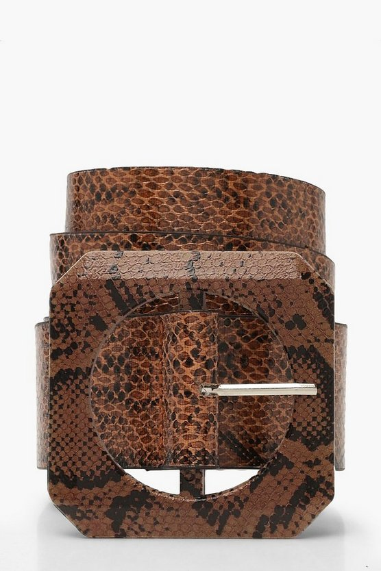Womens Brown Oversized Square Buckle Faux Snake Belt