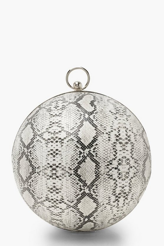 Black Faux Snake Sphere Clutch