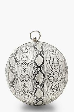 Faux Snake Sphere Clutch
