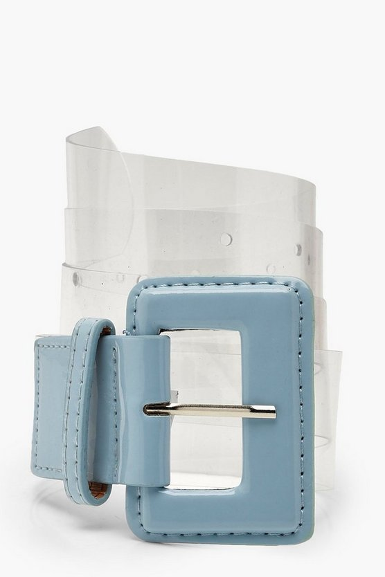 Womens Sage Wide Buckle Clear Waist Belt