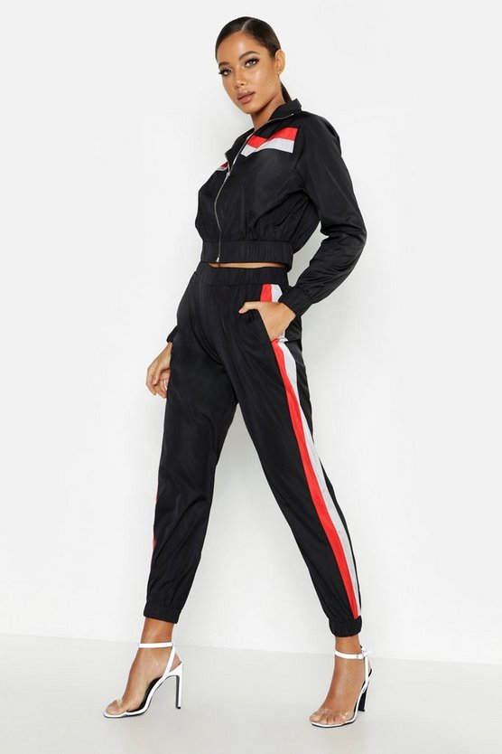 Womens Black Stripe Shell Tracksuit Jogger