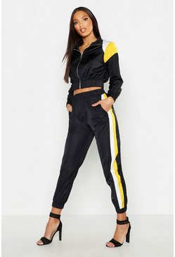 Womens Black Colour Block Shell Tracksuit Jogger